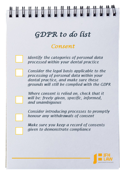 GDPR to do list for dental practices - consent