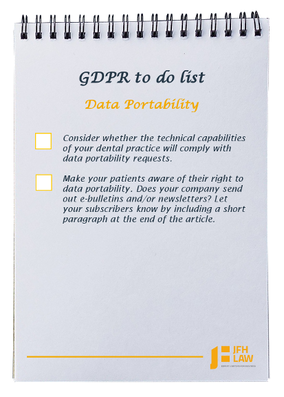 GDPR to do list for dental practices - Data Portability