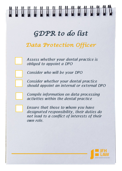 GDPR to do list for dental practices - Data Protection Officer (DPO)