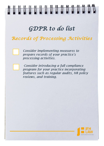 GDPR to do list for dental practices - Records of Procesing Activities